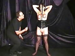 Extreme mature slave girls hooded breast bondage