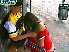 Guy fucks teen girl on bus stop