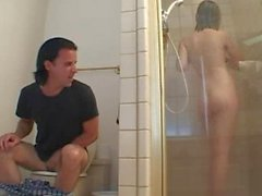 Natural teen fucks a stranger in the shower!