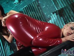 Kinky threesome session with latex-clad bitches
