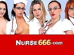 Perverse nurse Alexa Bold fucks huge dildo fuck