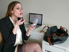Ashley Alban - Secretary Red Lip Stick Blowjob
