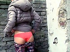 Tight Eurobabe flashing bum and rammed in exchange for cash