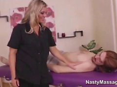 Melissa gives massage experience to cock