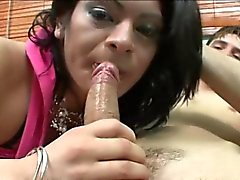 Kinky tranny Brenda analyzed and received sticky cum on face