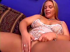 Hairy fat girl in white stockings