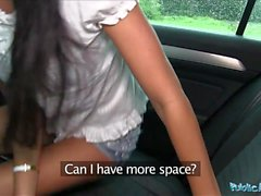 Public Agent Pretty in shorts fucked in a car after POV bj