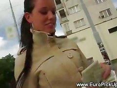 Brunette amateur hottie receives cash to show her body