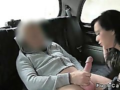 Huge tits hooker sucking dick in fake taxi in woods