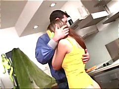 Hot teen brunette eats his dick for lunch and gets pounded in the kitchen