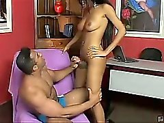 Andreia does a strip tease before pounding Douglas in the
