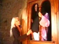 Hot blonde blowing the priest