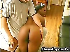 Ebony maid gives hot extra service part1