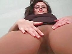 Stripping solo brunette