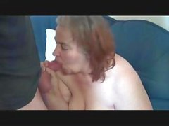 Old geezer gets lucky with a mature fat babe on her couch