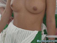 Mormon lesbians licking