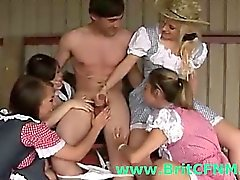 Bad CFNM British girls play with cowboy cock