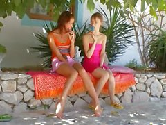 Two chicks from Russia playing
