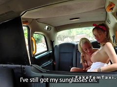 Huge tits taxi driver licks slim blonde lesbo