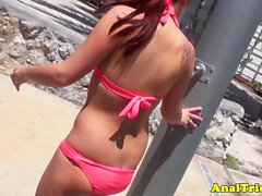 Bikini gf assfucking in homemade video