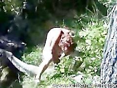 Outdoor masturbation Mom Helga with huge dildo