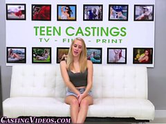 Shy cute teen strips down