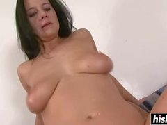 Cute lady loves the old school banging