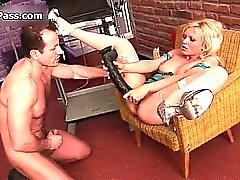 Sexy blonde slut gets horny