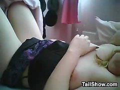 Horny amateur fat slut masturbates using her adult toy