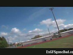 Horny football player getting filmed