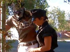 Naughty cop has her slot filled by a black cock