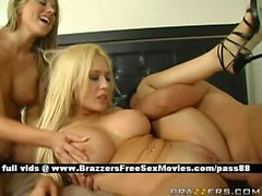 Two naked blonde babes in bed lick their pussy