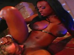 Stunning black bitch gets her slit licked by white stud