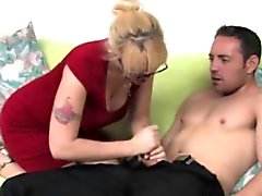 Hj loving milf with spex jerking dong