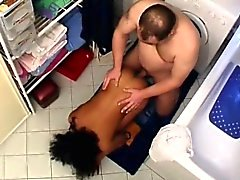 Chunky perv pumps beautiful African teen in the restroom