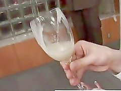 Real asian teen drinks cum from glass in amateur groupsex