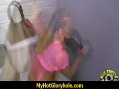 Gloryhole cock licking and sucking interracial 20