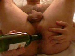Harry anal masturbation with wine bottle