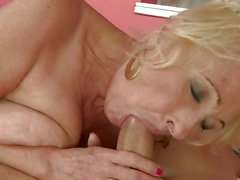 Nasty grandma gets her throat stuffed with cock
