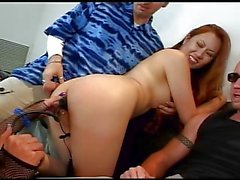 Asian Girl get fucked by two cocks and a girl