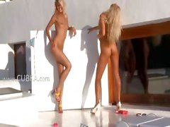 Two blondie angels in high heels