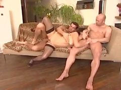 French maid fucked by two guys