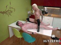 HITZEFREI Stunning blonde milf fucked in the kitchen