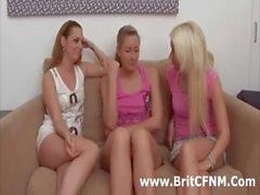 Group of naughty British CFNM girls wank black cock