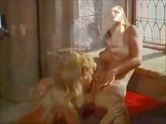 Medieval Lesbian babes in a castle get naked for hot pussy licking