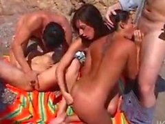 3 lesbians on the beach