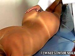 Blonde shemale fucks MILF pussy