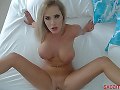 golden-haired dominant-bitch with massive zeppelins bonks a vibrator