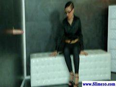 Bukakke loving brunette gives head at the gloryhole