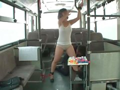 Jap pussy toyed in the bus